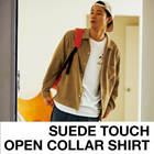 SUEDE TOUCH OPEN COLLAR SHIRT